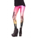 Flaring Rosy Clouds Sky Print long Elastic Leggings