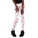 White Long Elastic Leggings with Cute Cherry Print