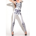 Silver-White Color Sleeveless Jumpsuits with Skull Bones Pattern