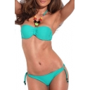 Green Jeweled Halter Bikini Top with Matching Bikini Bottom