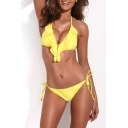 Yellow Ruffle Front Tie Side Triangel Bikini Set