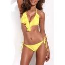 Yellow Ruffle Front Tie Side Triangel Bikini Set