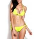 Yellow Triangle Bikini Set with Adjustable Straps