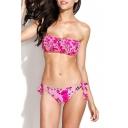 Fuchsia Floral Print Frill Detail Bandeau Bikini Set