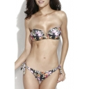 Floral Print V-wire Bandeau Tie Side Bikini Set