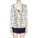 White Butterfly Print V-neck Button Up Shirt with Shoulder Detail