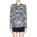 Zebra Print Long Sleeves Spread Collar Blouse