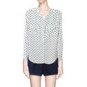 Casual Long Sleeves Polka Dot Blouses with Pockets