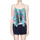 Cute Cross Back Layered Cami Top in Floral Print