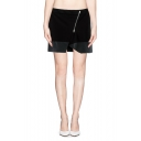 Black Zip Detail Faux Leather Trim Mini Skirt