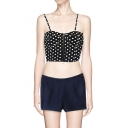 Zip Front Spaghetti Strap Crop Top in Polka Dot