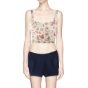 2014 Summer Rose Print Strap Cropped Bralet