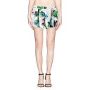 Fashionable Colorful Floral Elastic Waisted Band Shorts