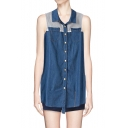 Cute Sleeveless Spread Collar Lace Insert Blue Denim Shirt