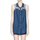 Cute Sleeveless Spread Collar Lace Insert Blue Denim Shirt