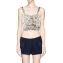 Newspaper Style Print Strap Bralet with Side Zipper