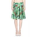 Green Knee Length Skater Dress in Floral Print