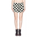 Vogue Cartoon Flower Print Elastic Waisted Band Shorts