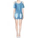 Light Blue Denim Cold Shoulder Scoop Neck Overall Shorts