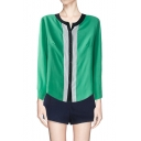 Green Collarless Long Sleeve Shirt with Contrast Placket