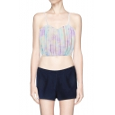 Pastel Spaghetti Strap Zip Back Bralet with Pleating