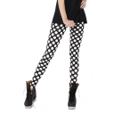 Black Skinny Leggings with White Polka Dot Print