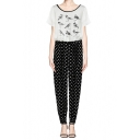 Bird Print Short Sleeve Top Jumpsuit with Polka Dot Pants