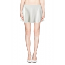 White Zip Back A-line Skirt with Seamed Detail