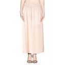 Elegant Elastic Waist Maxi Skirt in Chiffon