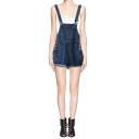 Denim Adjustable Strap Cuffed Hem Overall Short
