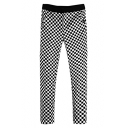 Fashion Check Print Contrast Waist Skinny Pants
