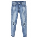 Open Knee Zipper Fly Slim Leg Jeans with Pockets