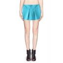 Fashionable Zip Side Mid Waist Chiffon Mini Skort