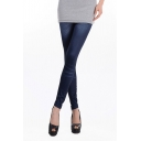 High Rise Denim Leggings with Faux Pocket Back