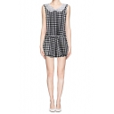 Mono Houndstooth Print Mesh Trim Zip Back Sleeveless Romper