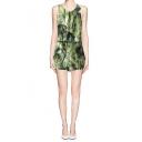 Green Botanical Print Cut-Out Back Sleeveless Romper with Belt
