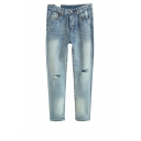 Newlook Open Knee Straight Leg Jeans in Light Wash