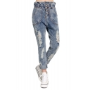 High Rise Ruffle-Waist Distressed Jeans with Four Buttons