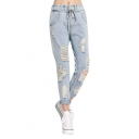 Mid Drawstring Waist Bleach Wash Distressed Jeans