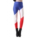 Color Block French Flag Slim Fit Leggings