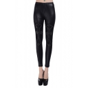 Black Leather Elastic Waist Leggings with Lace-panel and Bead