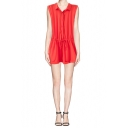 Button Front Drawstring Waist Sleeveless Lapel Romper