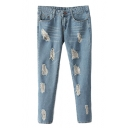 Ripped Zip Fly Light Wash Crop Jeans with Whiskering