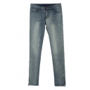 Zip Leg Opening Light Wash Skinny Jeans with Whiskering