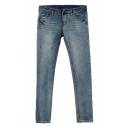 Mid Wash Low Rise Skinny Jeans with Whiskering