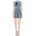 Pocket Front Elastic Waist Sleeveless Denim Romper with Buttons