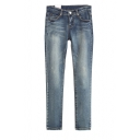 Retro Style Slim Leg Jeans with Five Pockets