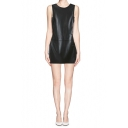 Black Leather-Look Sleeveless Column Dress with Pockets