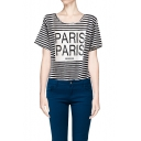 Stripe Print Short Sleeve Top with Letter PARIS