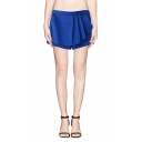 Plain High Waist Zipper-side Pleated Skort with Pockets
